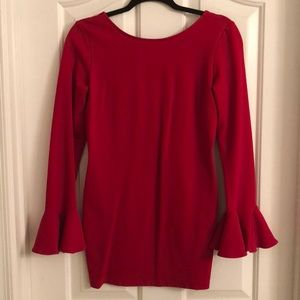 Nasty Gal Red Bell-Sleeved Mini Dress - Large
